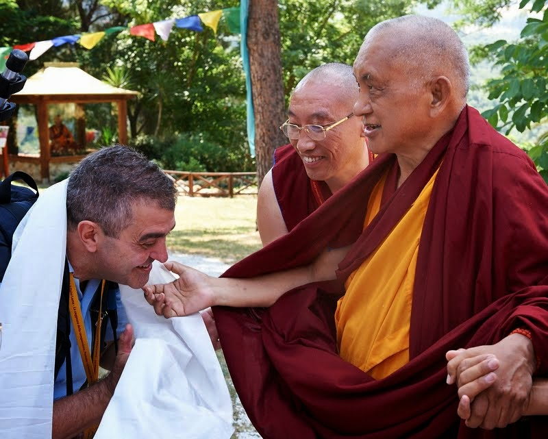 Lama Zopa Rinpoche greeting Piero Sirianni, Istituto Lama Tzong Khapa, Italy, June 13, 2014. Photo by Olivier Adam.