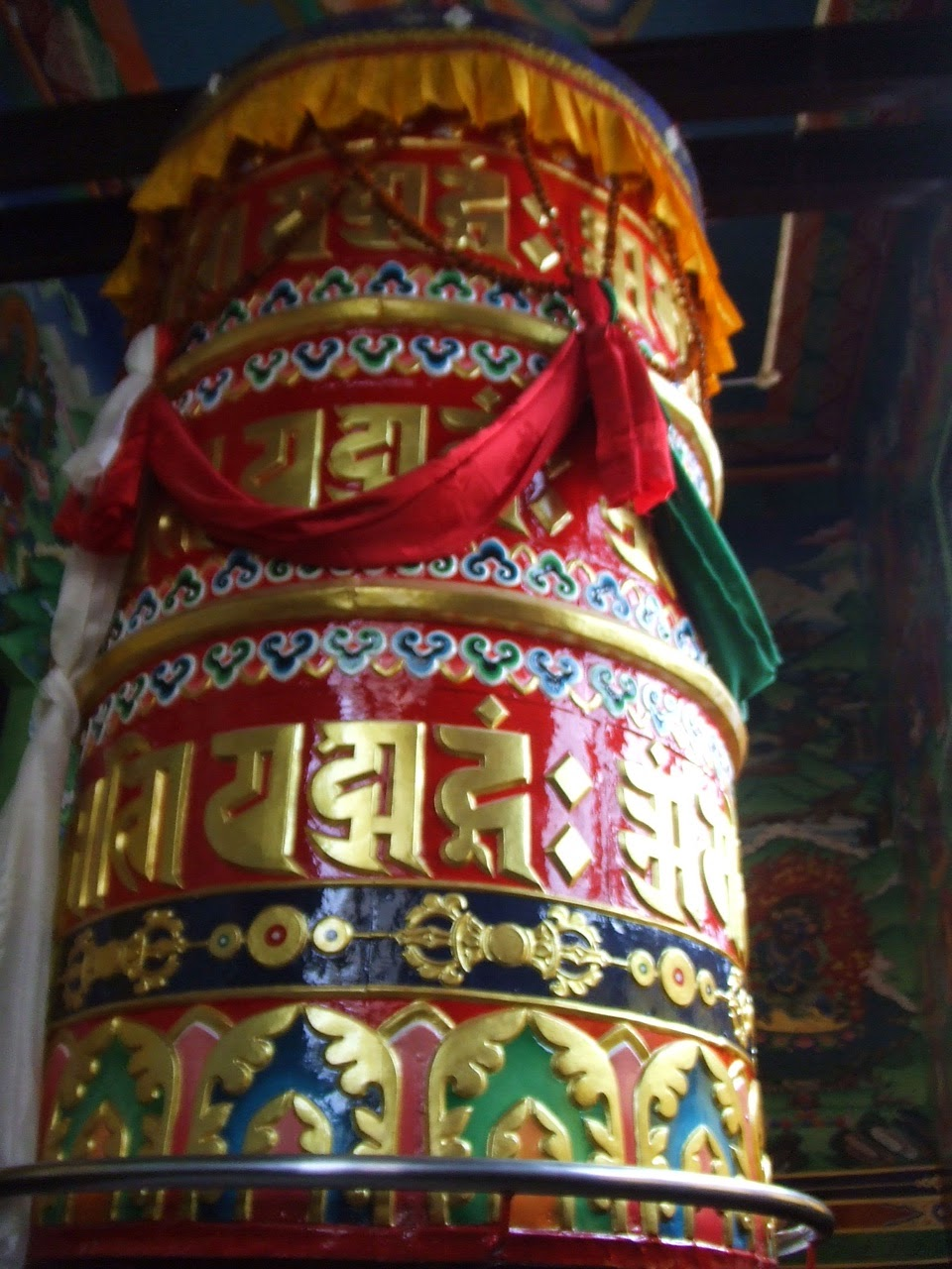 14 ft prayer wheel with over 100  million mantras at Hetauda, Makwanpure District, Nepal (built by Losang Namgyal Rinpoche)