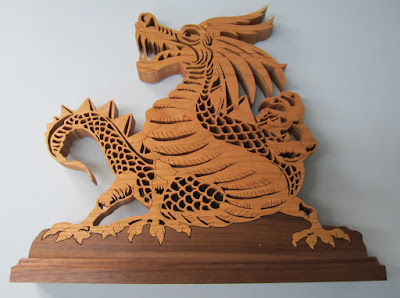 Dragon Silhouette  by Mark Weyers Creative Woodworks & Crafts 1998-09 Cherry and Balck Walnut
