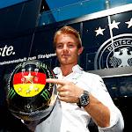 Nico Rosberg shows his German soccer champion helmet