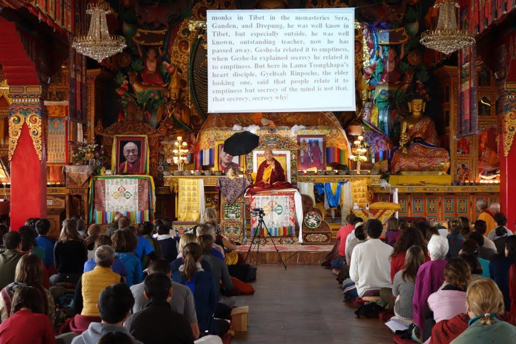 Lama Zopa Rinpoche teaching at Kopan Monastery, Nepal, December 2014. Photo by Ven. Roger Kunsang.