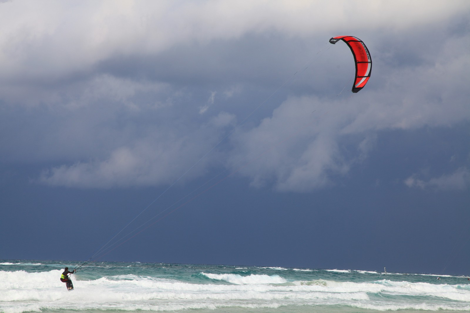 Caesarea beach is popular with kiters
