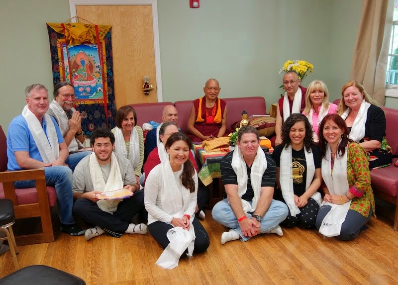 Lama Zopa Rinpoche with Geshe Konchog Kyab and students from Tubten Kunga Center in Florida, Light of the Path, May 2014. Photo by Ven. Roger Kunsang.