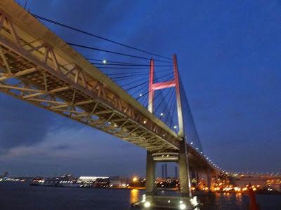 Passing under the Yokohama Bay Bridge