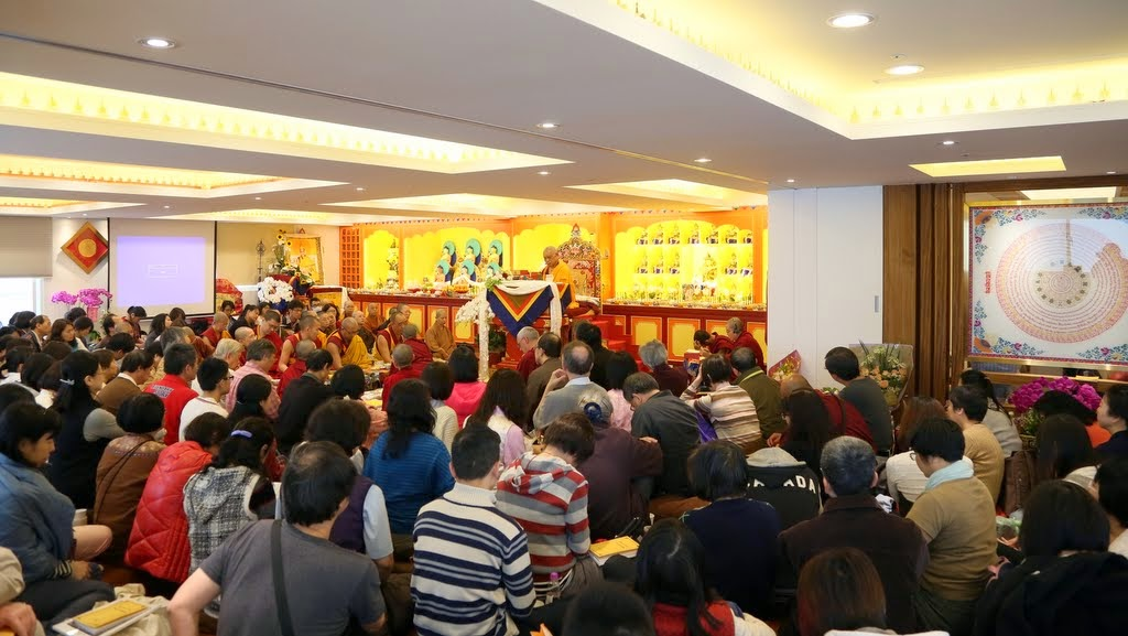 Opening ceremony with Lama Zopa Rinpoche at Jinsiu Farlin, Taipei, Taiwan, April 2014. Photo by Ven. Thubten Kunsang.