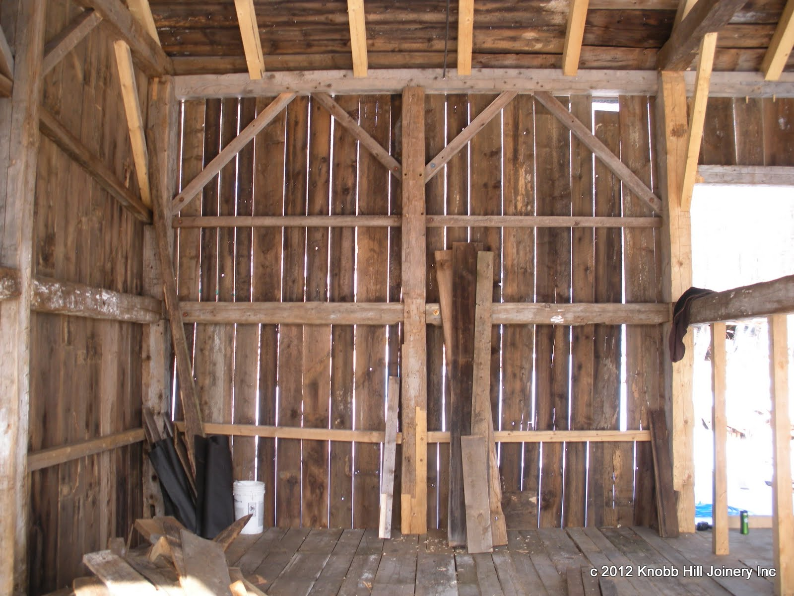 The lower girt on the left side had mortises at two different heights.