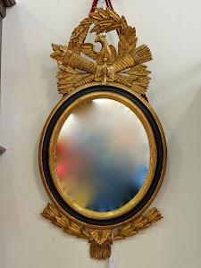 Настенное зеркало в стиле АМПИР. 19-й век. Дерево, резьба, позолота. 80/40 см. 1000 евро.