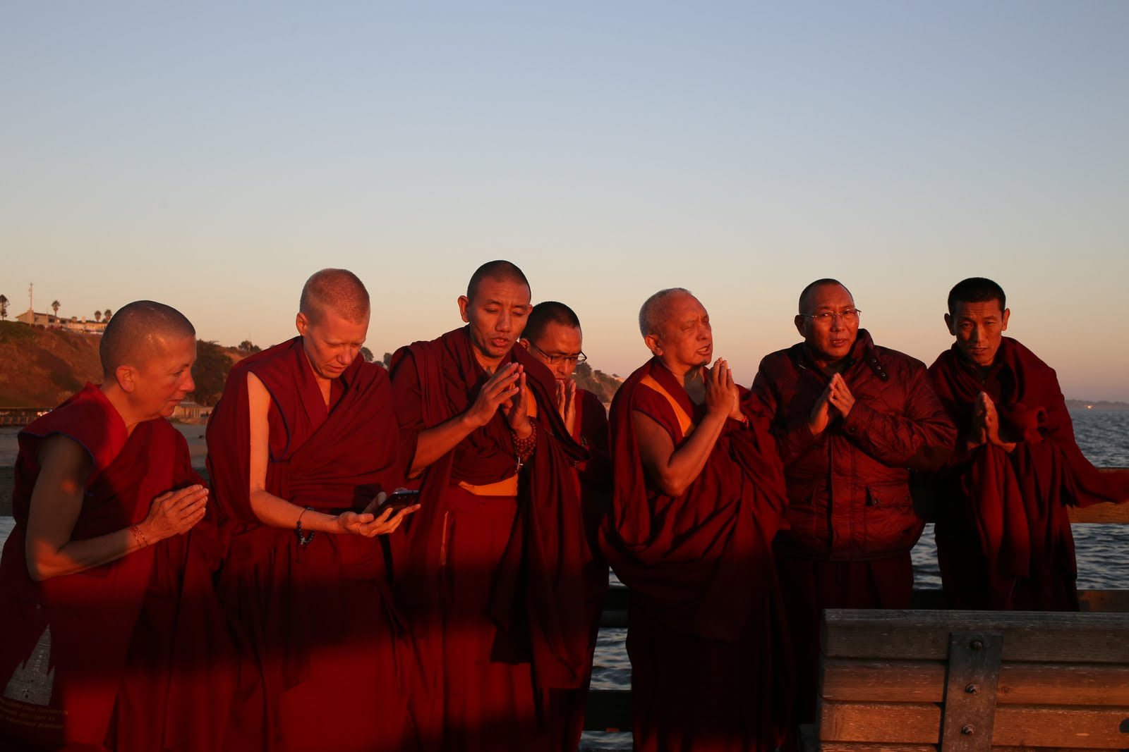 Rinpoche and Sangha blessing the ocean and all the beings living there. Photo by Ven. Thubten Kunsang.