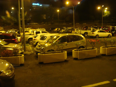 The airport car park late at night