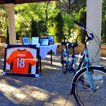 Big winner items: a tandem bike and Payton Manning jersey.