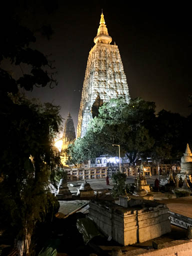 Mahabodhi Stupa at night, February 2015. Photo by Ven. Roger Kunsang.