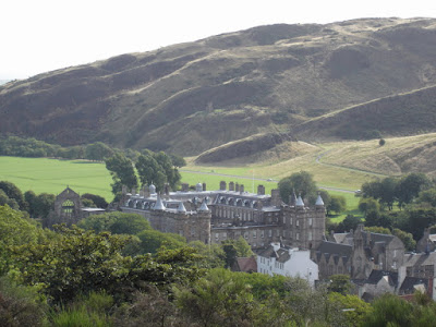 The Palace of Holyroodhouse from up on a hill