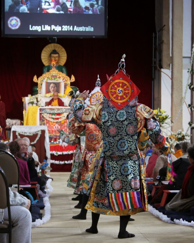 The offering dance of the five dakinis during the long life puja for Lama Zopa Rinpoche, Australia, September 2014. Photo by Laura Miller.