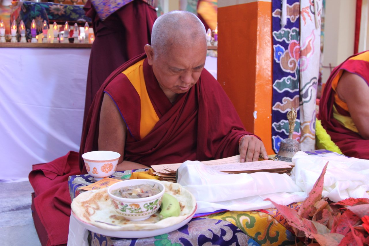 Lama Zopa Rinpoche with dinner from Sera Je Food Fund