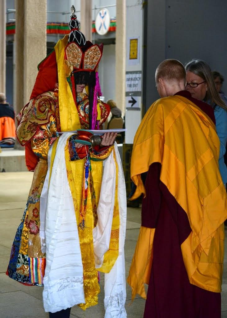 Dakini receiving offerings from the long life puja's sponsors, Australia, September 2014. Photo by Kunchok Gyaltsen.