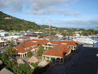 The view of the town we docked in in Raiatea