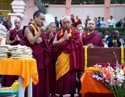 Lama Zopa Rinpoche doing a puja at the Mahabodhi Stupa, Bodhgaya, India, March 2015. Photo by Andy Melnic.