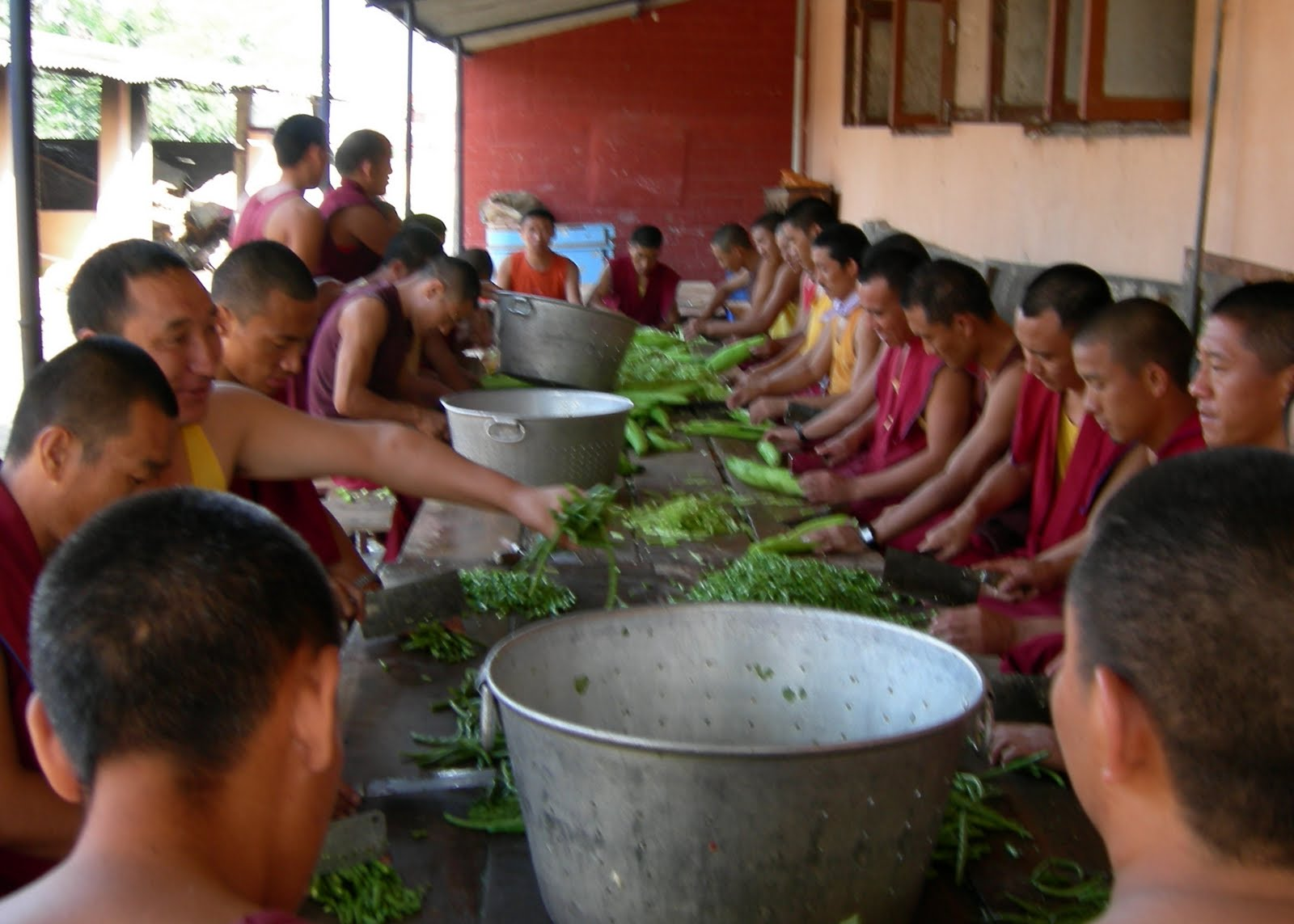 Preparing food to be offered to the monks of Sera Je Monastery