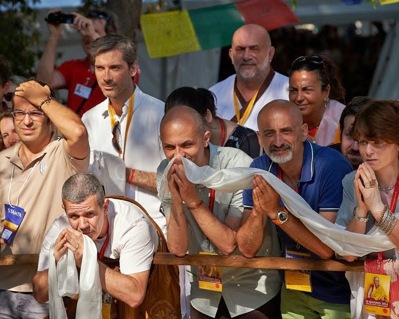 Waiting to see His Holiness the Dalai Lama, Istituto Lama Tzong Khapa, Italy, June 13, 2014. Photo by Olivier Adam.