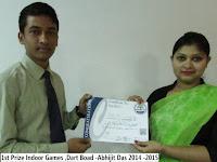 1st Prize Indoor Games ,Dart Boad -Abhijit Das 2014 -2015