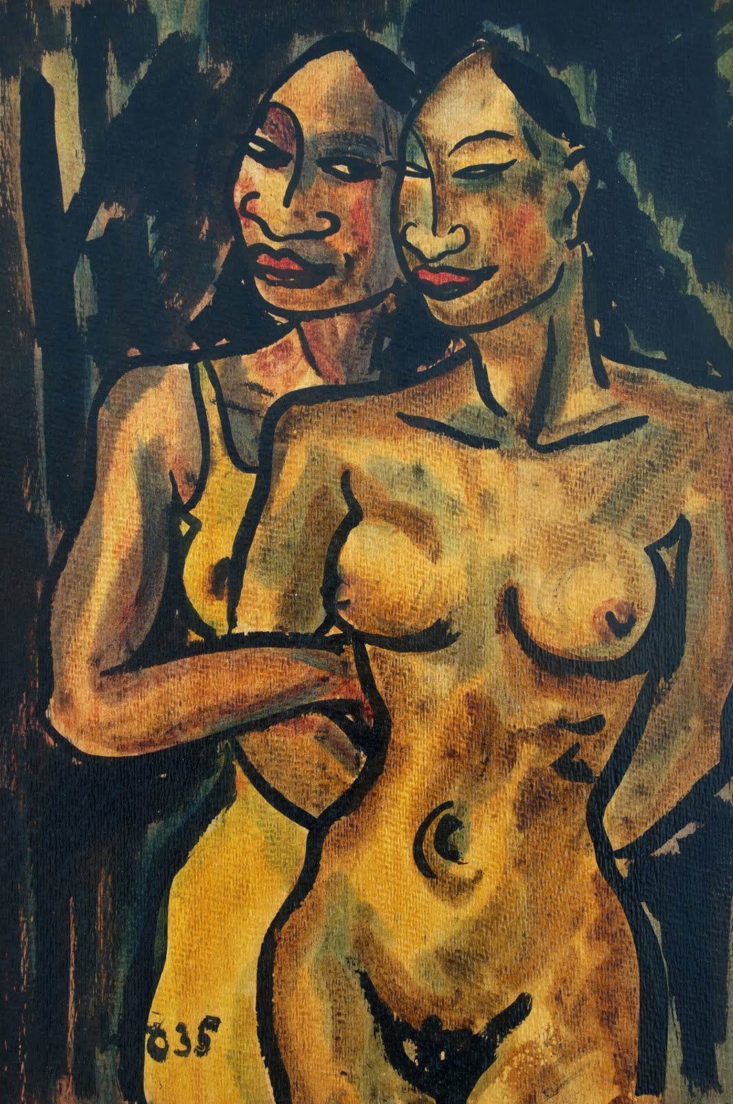 Nudes, oil on wood, 1935, 49 x 33 cm, family-owned