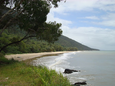 A beach on the coastal road between Cairns and Port Douglas