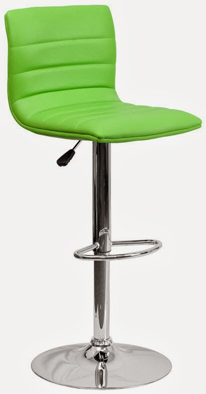 FLASH CH-92023-1-GRN-GG CONTEMPORARY GREEN VINYL ADJUSTABLE HEIGHT BAR STOOL WITH CHROME BASE