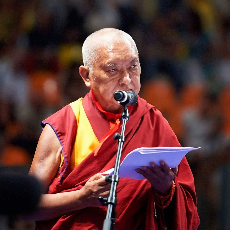 Lama Zopa Rinpoche offering thanks to His Holiness the Dalai Lama, Livorno, Italy, June 15, 2014. Photo by Olivier Adam.
