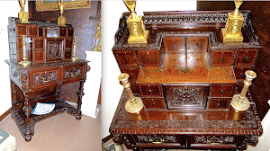 Антикварный подписной кабинет  1713 г. Выдвижные ящички, резьба, маркетри, ручная роспись. 92/56/130 см. 9900 евро.