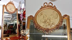Настенное зеркало 19-й век. Деревянная, резная, позолоченная рама.  Медальон из пластика. 195/90 см. 2500 евро.