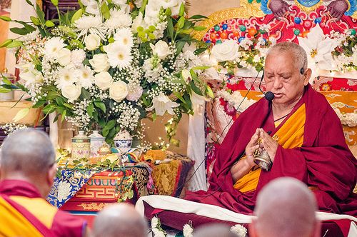 Long Life Puja offered to Lama Zopa Rinpoche, September 29, 2013. Land of Medicine Buddha, CA. Photo by Chris Majors.