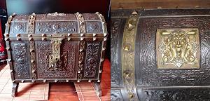 Красивый антикварный сундучок  ок.1800 г. Кожа, тиснение, ковка, бронза, замок с ключём. 44/35/40 см. 5000 евро.