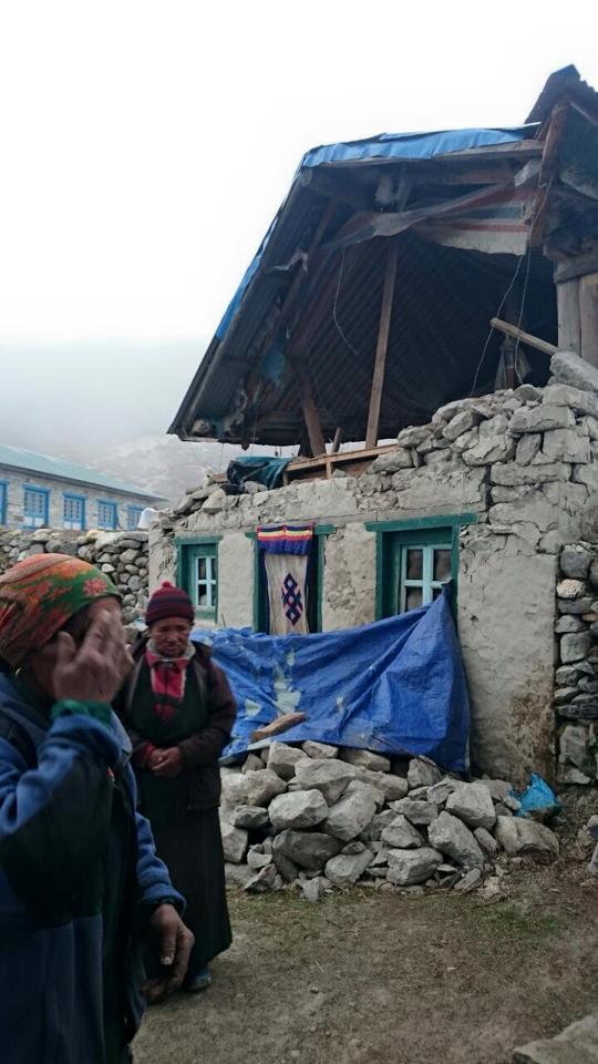 Earthquake damage in Solu Khumbu.