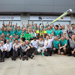 Mercedes F1 Team celebration after 1st and 2nd place