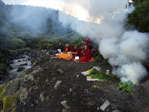 Lama Zopa Rinpoche doing puja at Mt. Taranaki, New Zealand, May 2015. Photo by Ven. Thubten Kunsang.