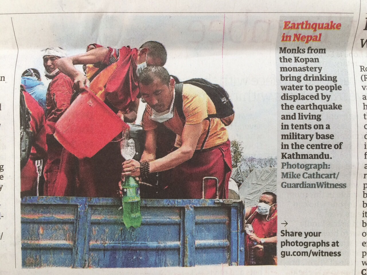 Kopan's relief efforts being acknowledged by the Guardian Witness.