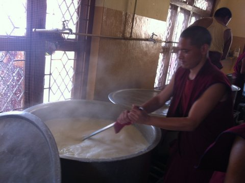 Monks cooking food
