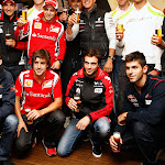 Several drivers having a beer