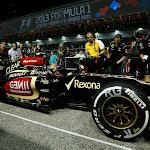 Kimi Raikkonen, Lotus E21 Renault arrives on the grid in his car