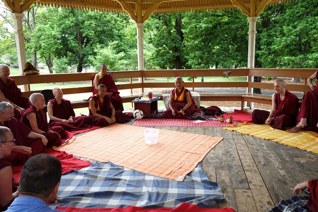 Picnic in the park with Lama Zopa Rinpoche and Sangha, Bendigo, Australia, October 2014. Photo by Ven. Roger Kunsang.
