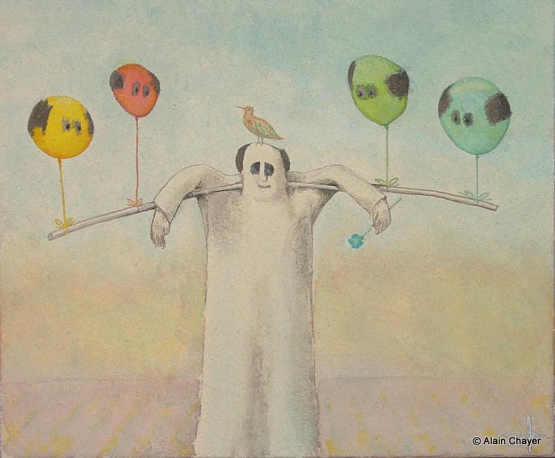 179 - Le Marchand de Ballon - 2007 65 x 54 - Sable et aquarelle sur toile
