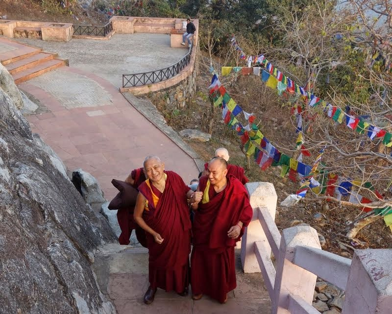 Lama Zopa Rinpoche walking up to Vulture's Peak, Rajgir, Bihar, India, February 2014. Photo by Ven. Roger Kunsang.