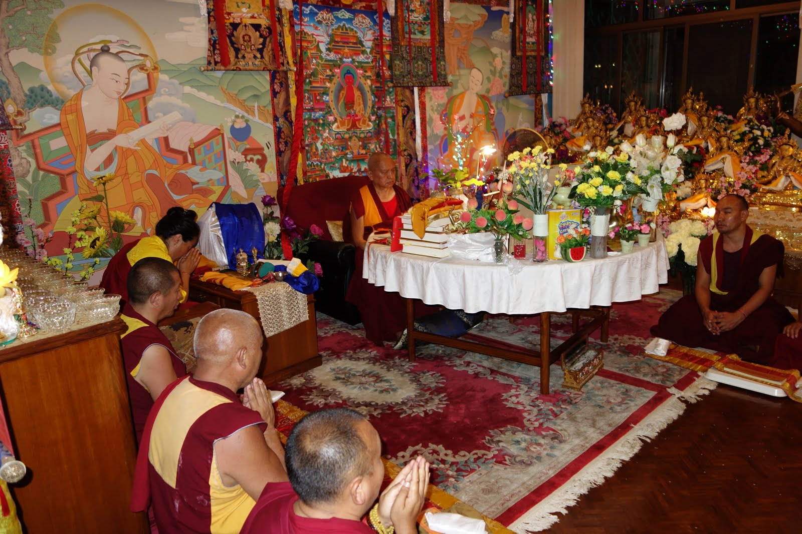 Rinpoche and Khadro-la with Lama Gyupa monks doing Yamantaka self initiniation. Kopan Monastery. May 11, 2013, Photo by Ven.  Roger Kunsang.