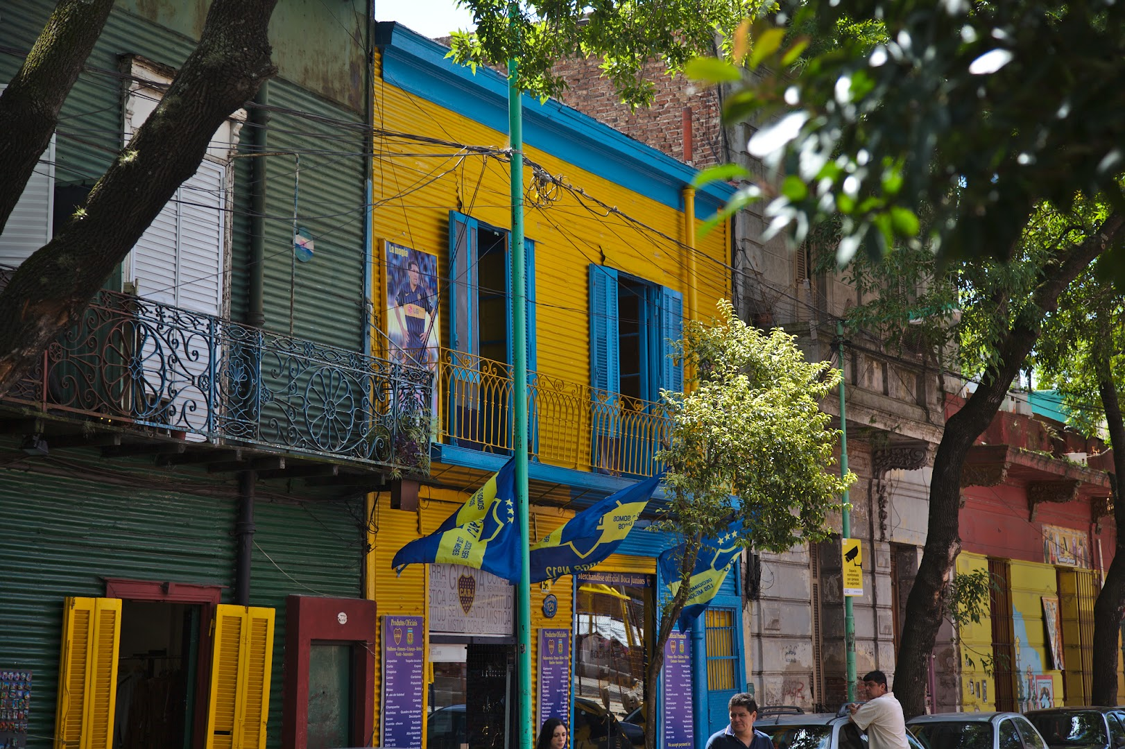 La Boca is famous for colored buildings, painted by Genovese settlers