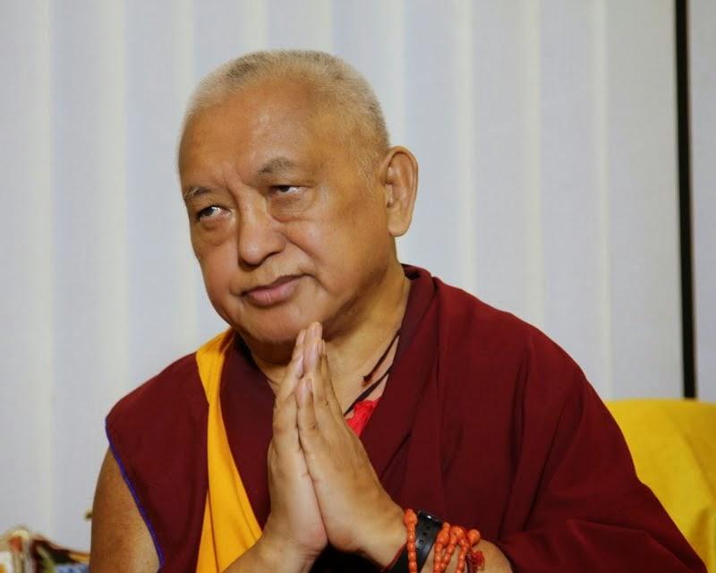 RinpochethankingbenefactorsfortheirverykindandgenerousdonationstotheSeraJeFoodFund, Sera Je Monastery, India, January 2014. Photo by Ven. Roger Kunsang.