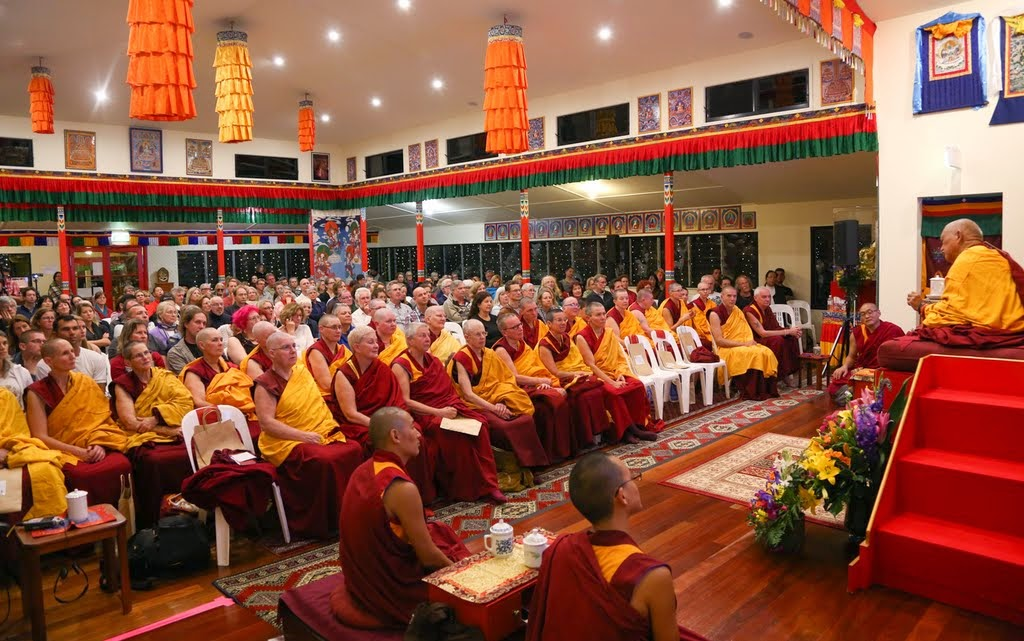 Lama Zopa Rinpoche giving teachings to Sangha and lay students at Chenrezig Institute, Eudlo, Australia, September 2014. Photo by Ven. Roger Kunsang.