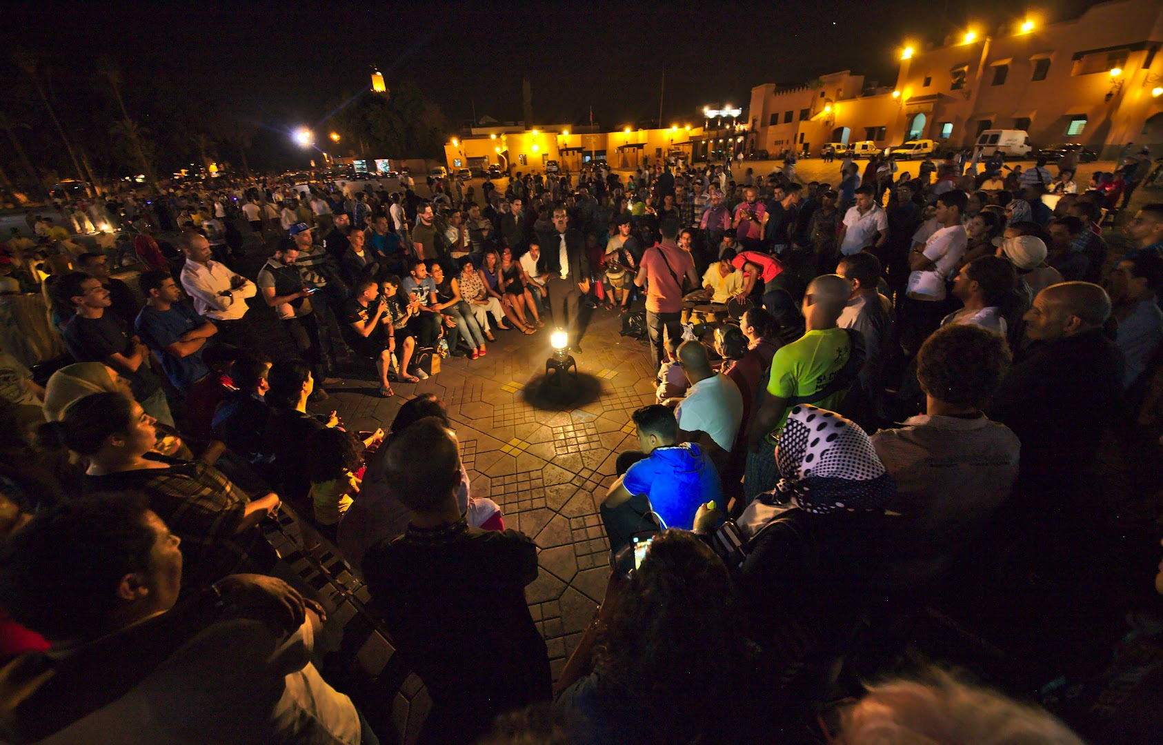 Lots of performances at the main square of Marrakech