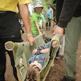 Bobřík záchrany - přenos na nosítkách