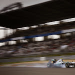 Lewis Hamilton blocks his front tyre