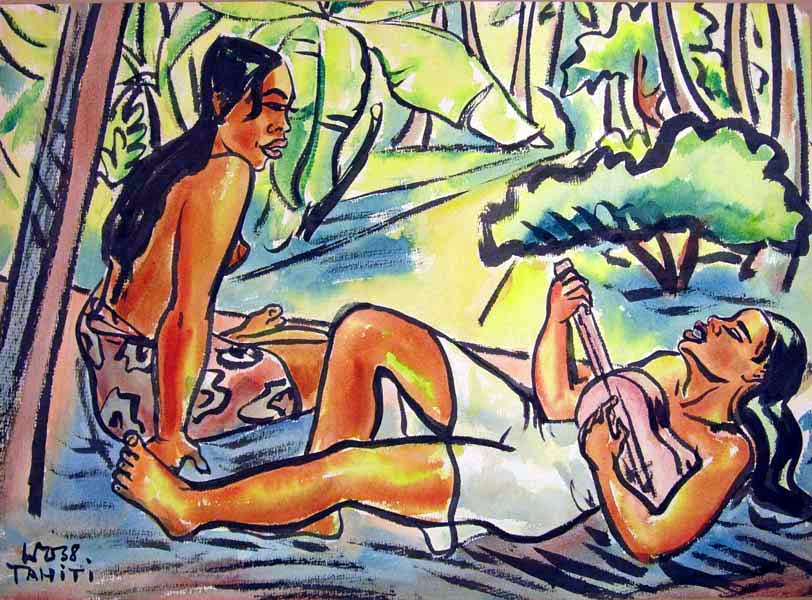 Tahitian women with ukulele, 1935, watercolor on paper, 19 x 26 inches